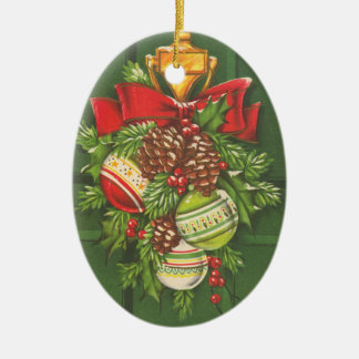 Vintage Christmas Bauble Customizable Ceramic Ornament