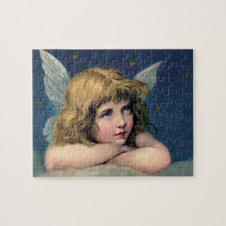 Vintage Christmas, Beautiful Angel with Gold Stars Puzzle
