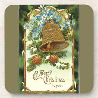 Vintage Christmas Bell and Pinecones Coaster