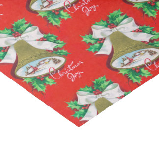 Vintage Christmas bell retro Holiday party tissue Tissue Paper