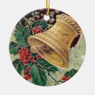 Vintage Christmas Bell Round Ceramic Ornament