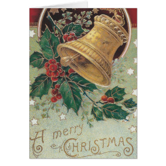 Vintage Christmas Bell with Holly Greeting Card