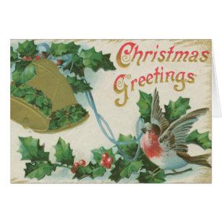Vintage Christmas Bells and Bird Card