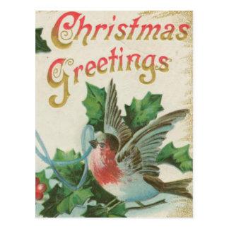 Vintage Christmas Bells and Bird Postcard