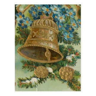 Vintage Christmas Bells and Gold Pine Cones Postcard