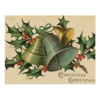 Vintage Christmas Bells and Holly Post Card
