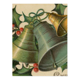 Vintage Christmas Bells and Holly Postcard