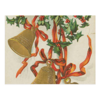 Vintage Christmas Bells and Ribbons Postcards