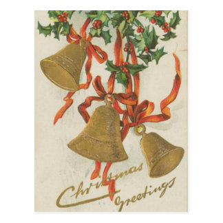 Vintage Christmas Bells and Ribbons Postcard