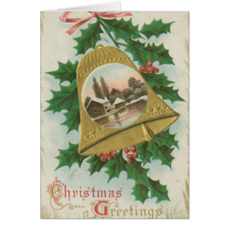 Vintage Christmas Bells and Town Greeting Card
