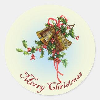 Vintage Christmas Bells Classic Round Sticker