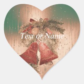 Vintage Christmas Bells Heart Sticker