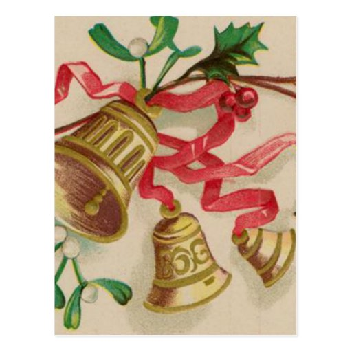 Vintage Christmas Bells, Ribbons and Holly Postcard