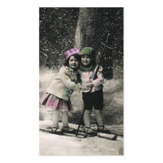 Vintage Christmas, Best Friends on Skis Business Cards