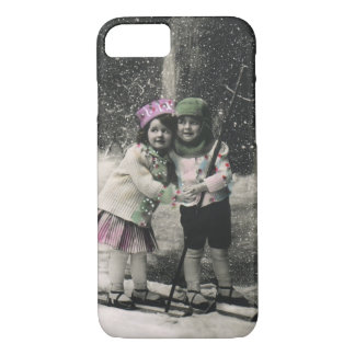 Vintage Christmas, Best Friends on Skis iPhone 8/7 Case