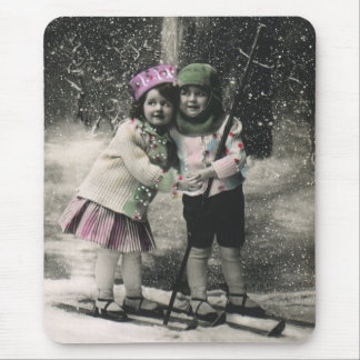 Vintage Christmas, Best Friends on Skis Mouse Pad