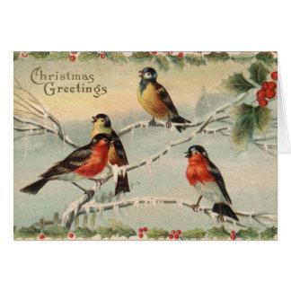 Vintage Christmas Birds Card