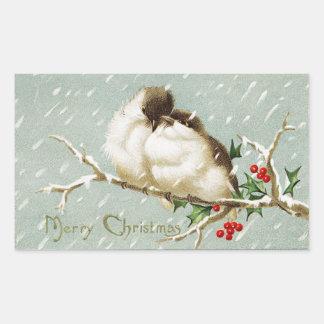 Vintage Christmas Birds Sticker