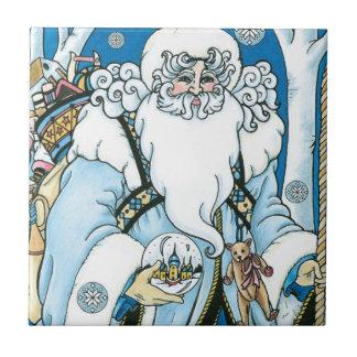 Vintage Christmas, Blue Santa Claus with Snowglobe Tile