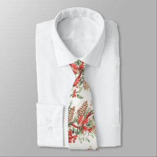 Vintage Christmas Botanical Pine Berries Holiday Tie
