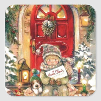 Vintage Christmas Boy and Dog Square Sticker
