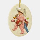 Vintage Christmas Boy Marching with Trumpet Drum Christmas Ornament