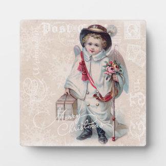 Vintage Christmas Boy Photo Plaques
