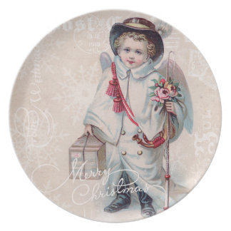 Vintage Christmas Boy Plates