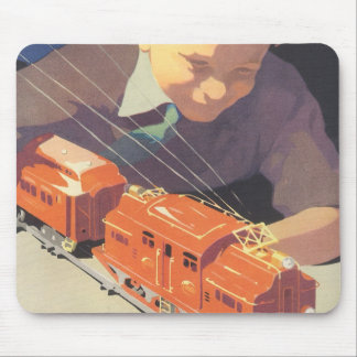 Vintage Christmas, Boy Playing with Toys Trains Mouse Pad