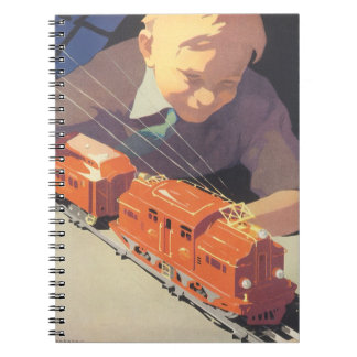 Vintage Christmas Boy Playing with Toys Trains Note Books