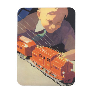 Vintage Christmas, Boy Playing with Toys Trains Rectangular Photo Magnet