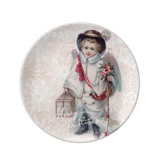 Vintage Christmas Boy Porcelain Plate
