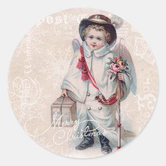 Vintage Christmas Boy Round Stickers