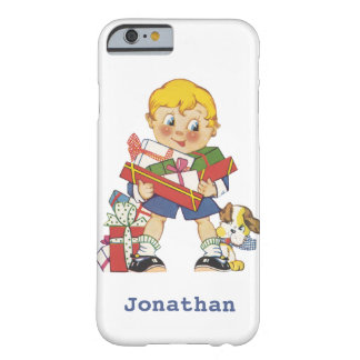 Vintage Christmas, Boy with Presents and Puppy Dog Barely There iPhone 6 Case