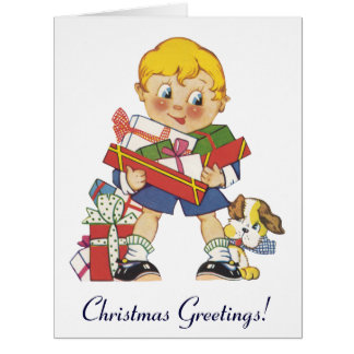 Vintage Christmas, Boy with Presents and Puppy Dog Big Greeting Card