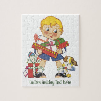 Vintage Christmas, Boy with Presents and Puppy Dog Jigsaw Puzzle