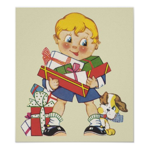 Vintage Christmas, Boy with Presents and Puppy Dog Poster