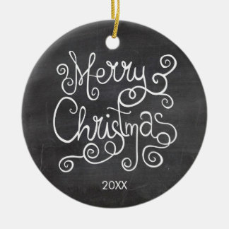 Vintage Christmas Calligraphy Chalkboard Photo Ceramic Ornament
