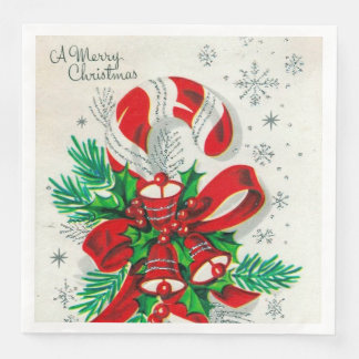 Vintage Christmas candy cane retro party napkins Paper Napkin