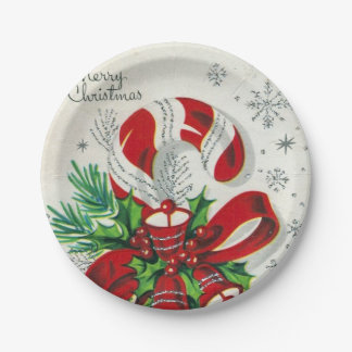 Vintage Christmas candy cane retro party plate