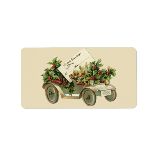 Vintage Christmas Car Gift Tag Avery Label