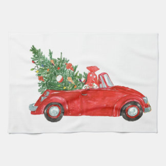 Vintage Christmas Car Hand Towels