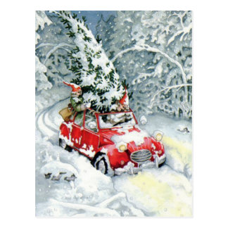 Vintage Christmas Car Postcard