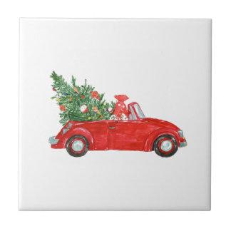 Vintage Christmas Car Tile