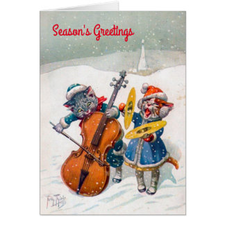 Vintage Christmas Card, Arthur Thiele Cats Card