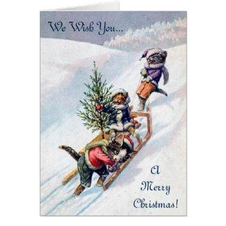 Vintage Christmas Card, Cats & Christmas Tree Card