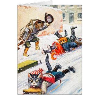 Vintage Christmas Card, Cats Sleigh Ride Card