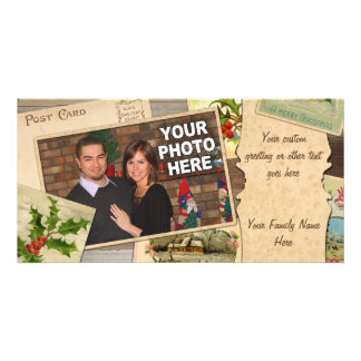 Vintage Christmas Card Collage w/Custom Photo Xmas