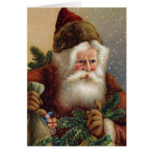 Vintage Christmas Card German Santa