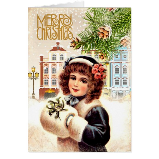 Vintage Christmas Card Girl with fur muff